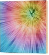 Colorful Starburst Tie Dye  Wood Print