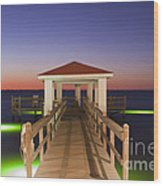 Colorful Sunrise With Fishing Pier At The Texas Gulf Coast Wood Print