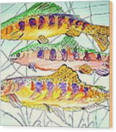 Colorful Trout Wood Print by Janna Columbus