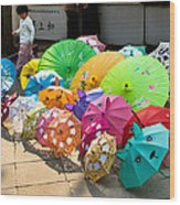 Colorful Umbrellas Wood Print by John Wong