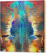 Colorful Water Color Painting Wood Print
