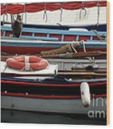 Colorful Wooden Boats Wood Print
