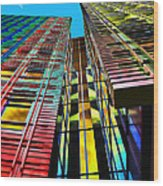 Colors In The City With Clouds Wood Print