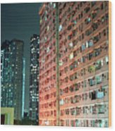 Colors Of A Housing Estate At Night Wood Print