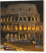 Colosseum By Night Wood Print by Chris Hill