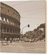Colosseum In Sepia Wood Print