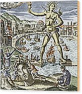 Colossus Of Rhodes Statue Wood Print by Sheila Terry