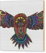 Coloured Owl Wood Print by Karen Elzinga