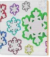 Coloured Snowflakes Isolated Wood Print