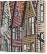 Colourful Houses In A Row Bergen Norway Wood Print