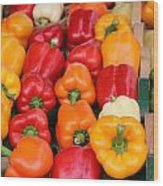 Colourful Peppers Wood Print
