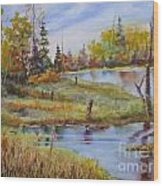colours Of Elk Island Wood Print