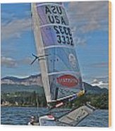 Columbia River Gorge Sailboat Racing Wood Print