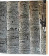 Columns And Hanging Lamp Wood Print
