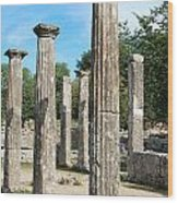 Columns At Olympia Greece Wood Print by Eva Kaufman