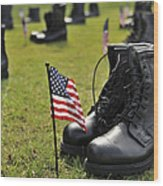 Combat Boots Are Placed In Formation Wood Print