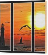 Coming Home Sunset Triptych Series Wood Print