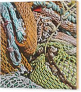 Commercial Fishing Nets And Rope Wood Print