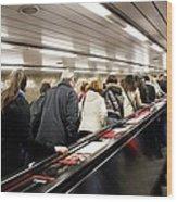 Commuters On Escalators In Prague Metro Wood Print