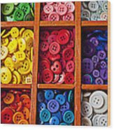 Compartments Full Of Buttons Wood Print by Garry Gay