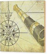 Compass And Monocular Wood Print