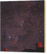 Composite Image Of Halley's Comet & Mauna Kea Wood Print