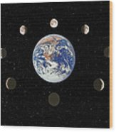 Composite Image Of The Phases Of The Moon Wood Print