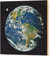 Composite Image Of Whole Earth Blue Wood Print