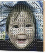Computer Analysis Of A Smile On A Baby's Face Wood Print by Institute For Neural Computation, University Of California