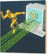 Computer Artwork Of E-mail As A Sprinter Wood Print by Laguna Design