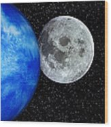 Computer Artwork Of Full Moon And Earth's Limb Wood Print