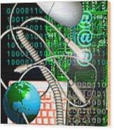 Computer Artwork Of Internet Communication Wood Print