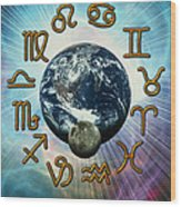 Computer Artwork Of The Zodiac Signs Around Earth Wood Print