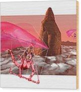Computer Artwork Of Women Hang-gliding On Mars Wood Print
