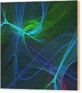 Computer Generated Green Blue Abstract Fractal Flame Modern Art Wood Print