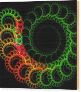Computer Generated Green Red Abstract Fractal Flame Modern Art Wood Print