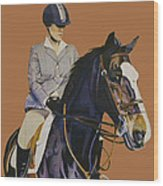 Concentration - Hunter Jumper Horse And Rider Wood Print