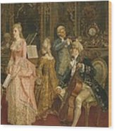 Concert At The Time Of Mozart Wood Print by Ettore Simonetti