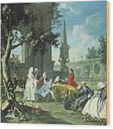 Concert In A Garden Wood Print by Filippo Falciatore