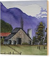 Concrete Barn Watercolor Wood Print
