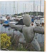 Concrete Man At The Marina Wood Print