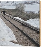 Conductor Walking On Empty Railroad Tracks Wood Print