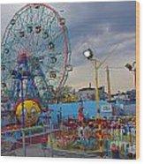 Coney Island Amusements Wood Print