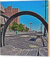 Coney Island Bench View Wood Print