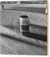 Coney Island Boardwalk In Black And White Wood Print