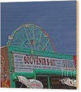Coney Island Facade Wood Print