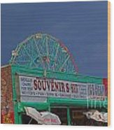 Coney Island Facades Wood Print