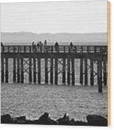 Coney Island Pier In Black And White Wood Print