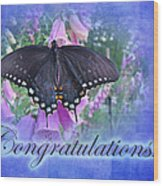Congratulations Greeting Card - Spicebush Swallowtail Butterfly Wood Print