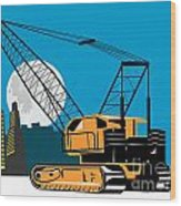 Construction Crane Hoist Retro Wood Print
